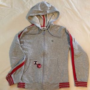 Lacoste Grey & Red Trim Light Cotton Hoodie 36 Sm